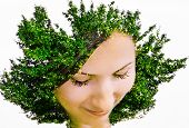Young beautiful woman with the hairstyle on the head as a tree
