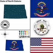 Map Of State North Dakota, Usa