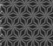 Repeating Ornament Stars With Lines On Gray Textured With Dots