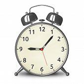 Metallic Alarm Clock Isolated
