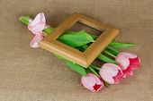 Three Pink Tulips With Satin Ribbon And Wooden Frame
