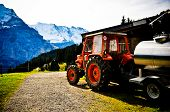 Farming equipment in the Swiss Alps