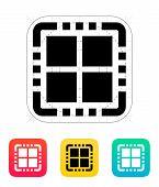 Quad Core CPU icon. Vector illustration.