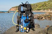 stock photo of sky diving  - Set of Scuba Diving kit set up ready for a dive - JPG