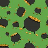 picture of gold panning  - Seamless pattern with pot full of gold on green background - JPG