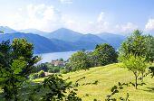 Lake Orta, panorama from Sacro Monte. Color image