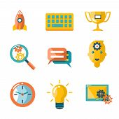 Flat business SEO social media marketing silhouette isolated icons set