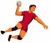 Handball Player Jumping Shooting Retro