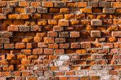 Level red brick wall background.