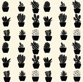 picture of cactus  - vector black and white cartoon cactus pattern hand drawn - JPG