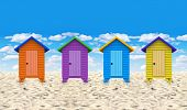 stock photo of beach-house  - Colorful 3D huts at the beach with a nice blue sky on the background - JPG