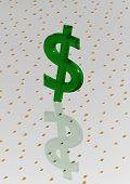 Big Three-dimensional Green Dollar Sign