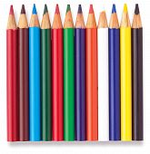 Row Of Childrens Colouring Coloring Pencils On A White Background