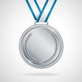 Vector silver medal with ribbon