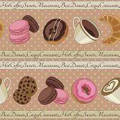 Cookies and coffee pattern, beige