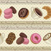 Cookies and coffee pattern, light yellow