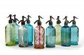 Soda Syphon Bottles Coloured On White Background