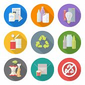 pic of garbage bin  - vector flat style various waste colored groups long shadow icons set for separate collection and recycle garbage - JPG