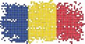 Romanian grunge tile flag. Vector illustration
