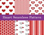 Heart  Seamless Patterns. Pink And Red Color. Endless Tiling Texture For Printing Onto Fabric And Pa