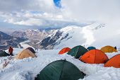 image of tent  - Mountain view from Lenin peak camp 4 - JPG