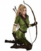 Blonde Female Elf Archer, Kneeling
