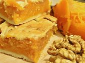 pumpkin, pumpkin pie and walnut kernels