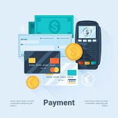 Card, Money, Coins And Cheque. Payment Methods Concept. Flat Style With Long Shadows. Clean Design.