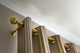 picture of rod  - Brass curtain rod in a luxurious house - JPG