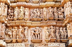 pic of kamasutra  - Erotic Human Sculptures at Vishvanatha Temple Western temples of Khajuraho Madhya Pradesh India - JPG