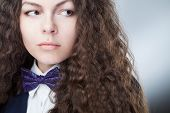 stock photo of bow tie hair  - The bow tie on the girl - JPG