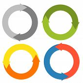 stock photo of reboot  - 2 arrows making a circle - set of 4 isolated circles in different colors (for recycle reboot refresh 