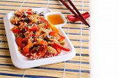 picture of sesame seed  - Vegetables in an Asian style with sesame seeds - JPG