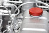 pic of lube  - Close up of fuel tank on the car engine - JPG