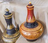 stock photo of paint pot  - image of Thailand water pot made with clay and decorated with golden oil paint - JPG