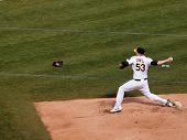 A's Trevor Cahill Steps Forward To Throw A Pitch As He Warms Up In The Bullpen