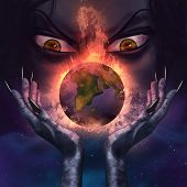 image of planet earth  - Evil witch with evil grim face holding a burning planet Earth in her scary long hands illustration - JPG