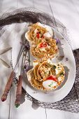 pic of scallops  - First dish with spaghetti integral to scallops and parsley - JPG