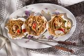 foto of scallops  - First dish with spaghetti integral to scallops and parsley - JPG