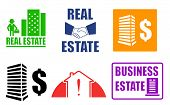 stock photo of real-estate-team  - set isolated colorful business real estate icons - JPG