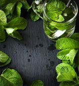 image of mints  - Mint Tea And Mint Leaves Over Black Background With Copy Space - JPG