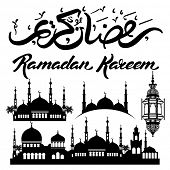 picture of ramadan calligraphy  - Ramadan Kareem design elements set with mosque - JPG