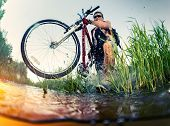 picture of swamps  - Young man crossing the swamp with bicycle - JPG