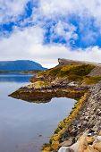 stock photo of fjord  - Famous bridge through fjord on the Atlantic road in Norway  - JPG