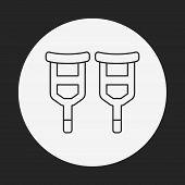 picture of crutch  - Crutch Line Icon - JPG