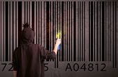 picture of barcode  - Young urban painter drawing a barcode on the wall  - JPG