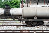 stock photo of railroad yard  - Double oil tank in the railway yard of station - JPG