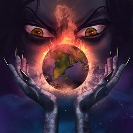 picture of scary face  - Evil witch with evil grim face holding a burning planet Earth in her scary long hands illustration - JPG