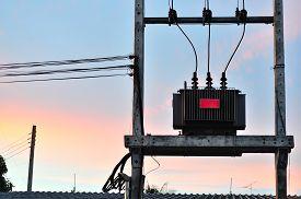 stock photo of transformer  - An electrical transformer in data room  - JPG