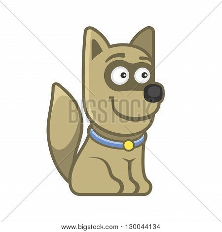 poster of Dog. Cartoon Style Funny Animal on White Background. Vector illustration
